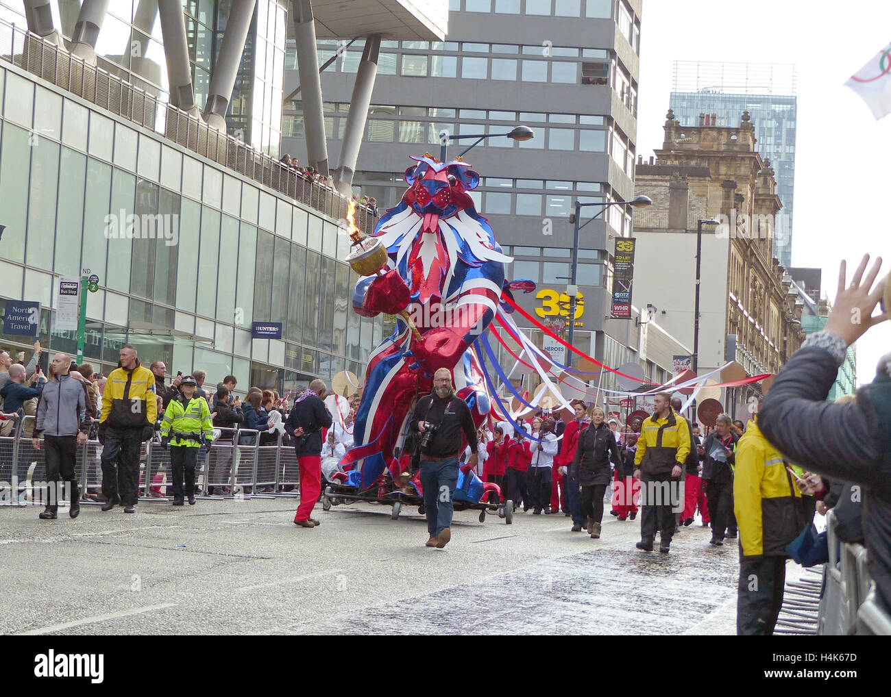 Manchester, UK. 17th October, 2016. The Olympic and Paralympic heroes parade wound its way through Manchester City Stock Photo