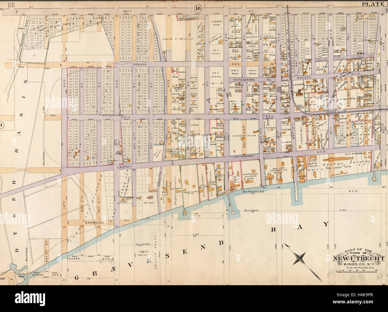 Old map of New York, USA - Stock Image