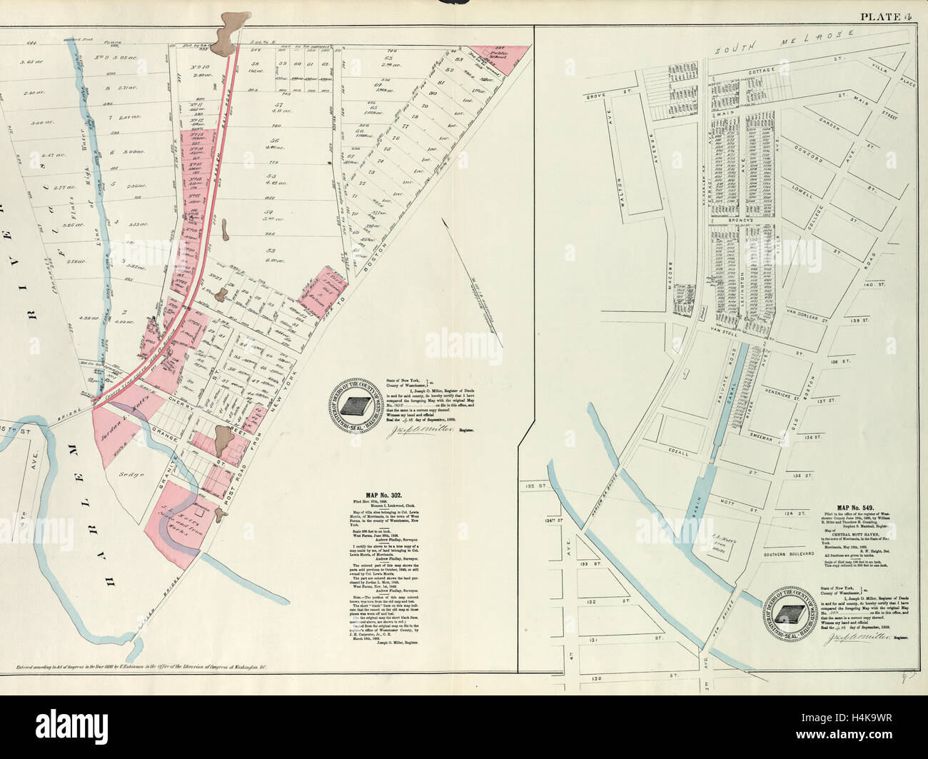 Harlem Nyc Map.Plate 4 Map No 302 Bounded By Harlem River 149th Street And Post