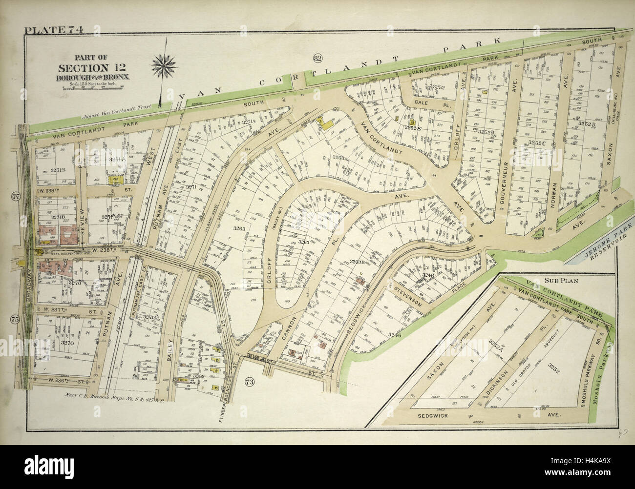 Plate 74, Part of Section 12, Borough of the Bronx. Bounded by Van  Cortlandt Park South, Mosholu Parkway, Sedgwick - Stock Image