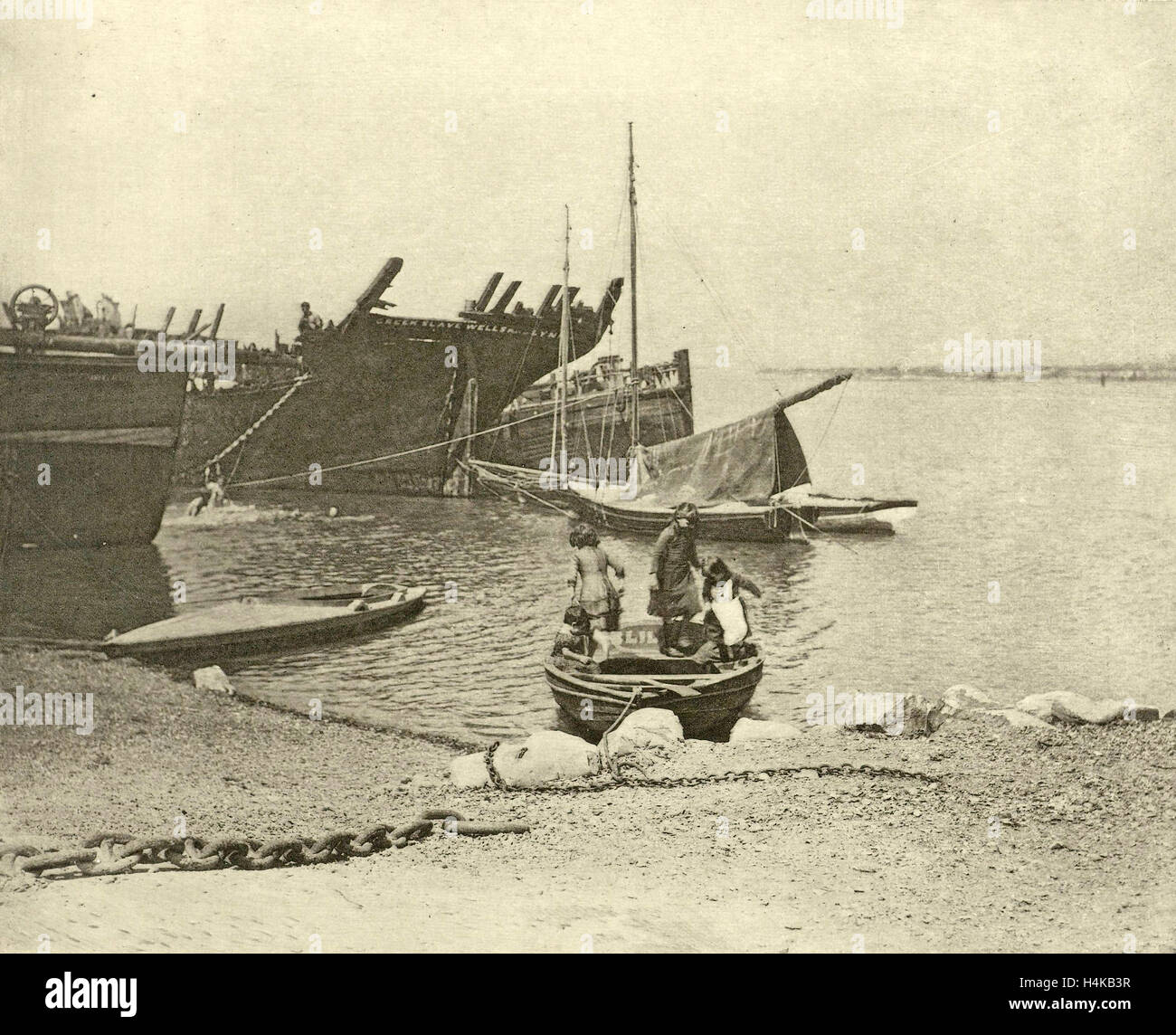 dismantled ships, attributed to Peter Henry Emerson, 1887 - 1890 - Stock Image