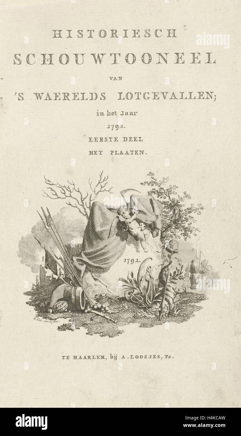 Title page for Historiesch theater of programs waerelds fate in the year 1792, Willem Kok, A. Loosjes, 1792 - Stock Image