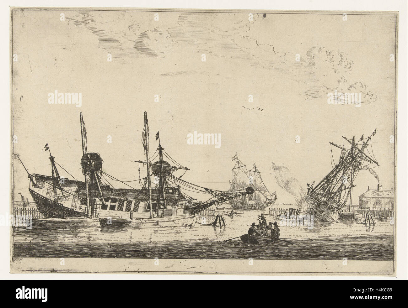 Two-keeled sailboats, Reinier Nooms, 1650 - 1664 - Stock Image