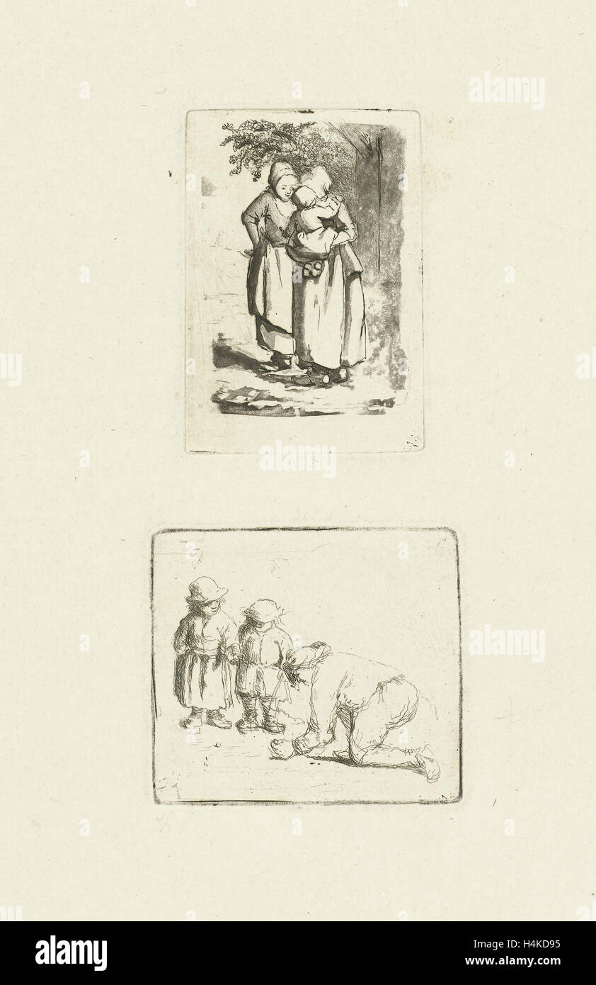 Two standing peasant women, one with a child on her arm, print maker: Marie Lambertine Coclers, 1776 - 1815 - Stock Image