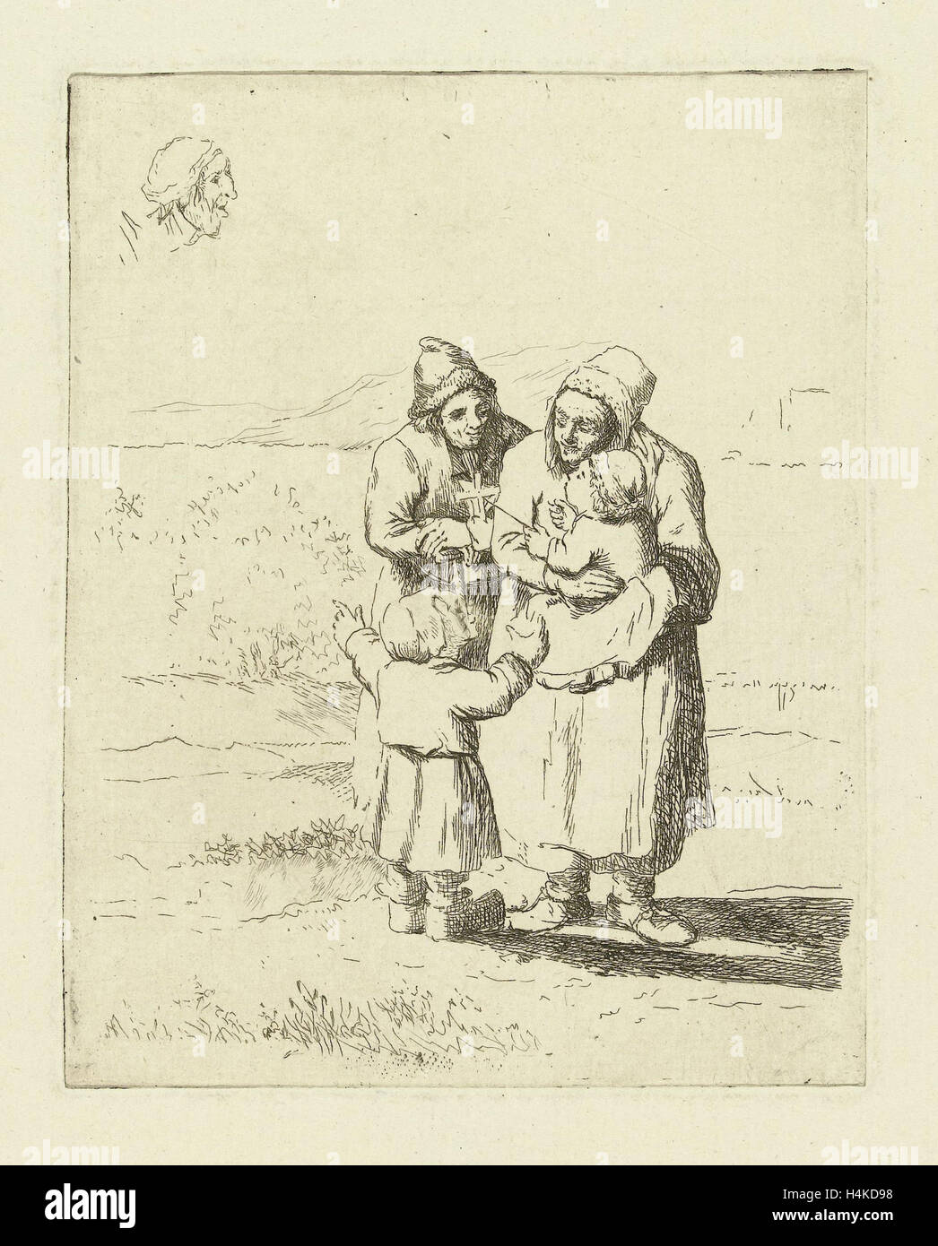 Study Sheet with family with two children, print maker: Marie Lambertine Coclers, 1776 - 1815 - Stock Image
