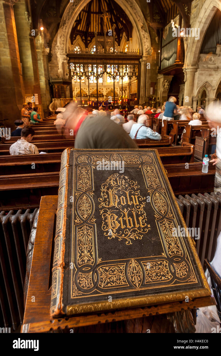 42 years after being stolen in 1971, a huge bible was anonymously returned last week to the rightful owners at Holy - Stock Image