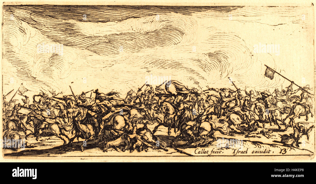 Jacques Callot, French (1592-1635), The Cavalry Combat with Swords, c. 1632-1634, etching - Stock Image