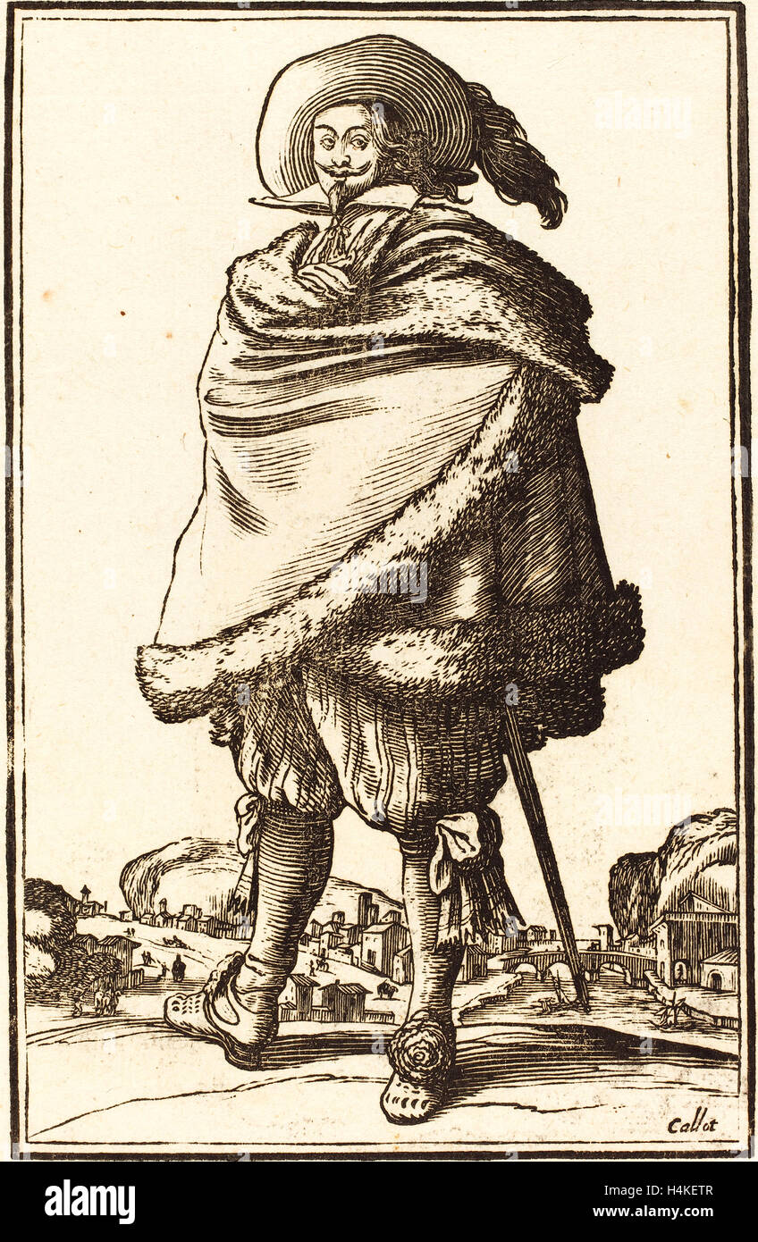 after Jacques Callot, Noble Man Wrapped in a Mantle Trimmed with Fur, woodcut - Stock Image