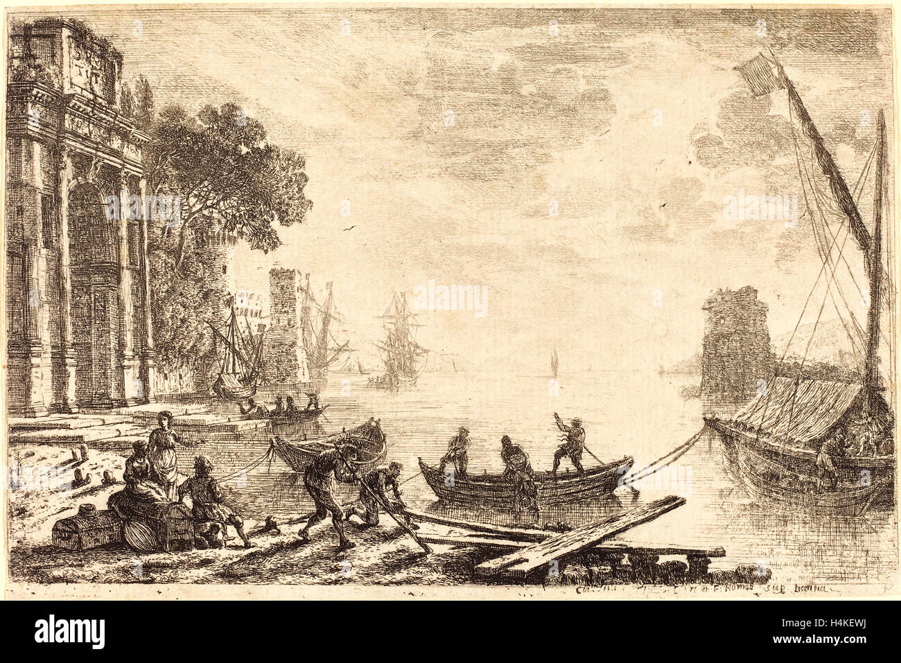 Claude Lorrain, French (1604-1605-1682), Harbor Scene with Rising Sun (Le soleil levant), 1634, etching - Stock Image