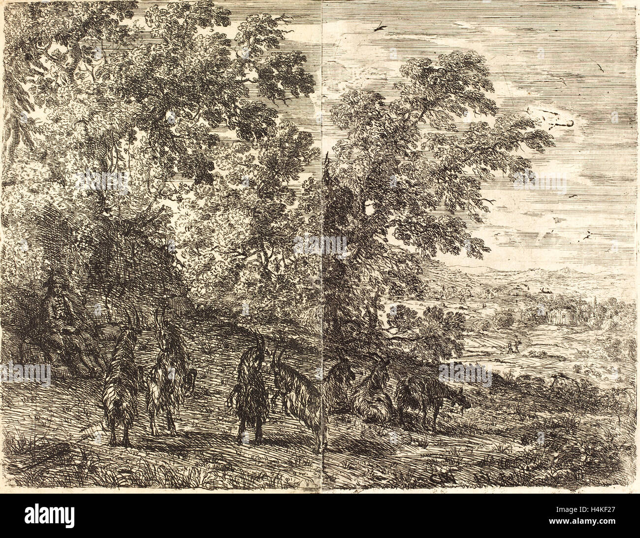 Claude Lorrain, French (1604-1605-1682), Shepherd with Goats (Les chèvres), c. 1630-1633, etching - Stock Image