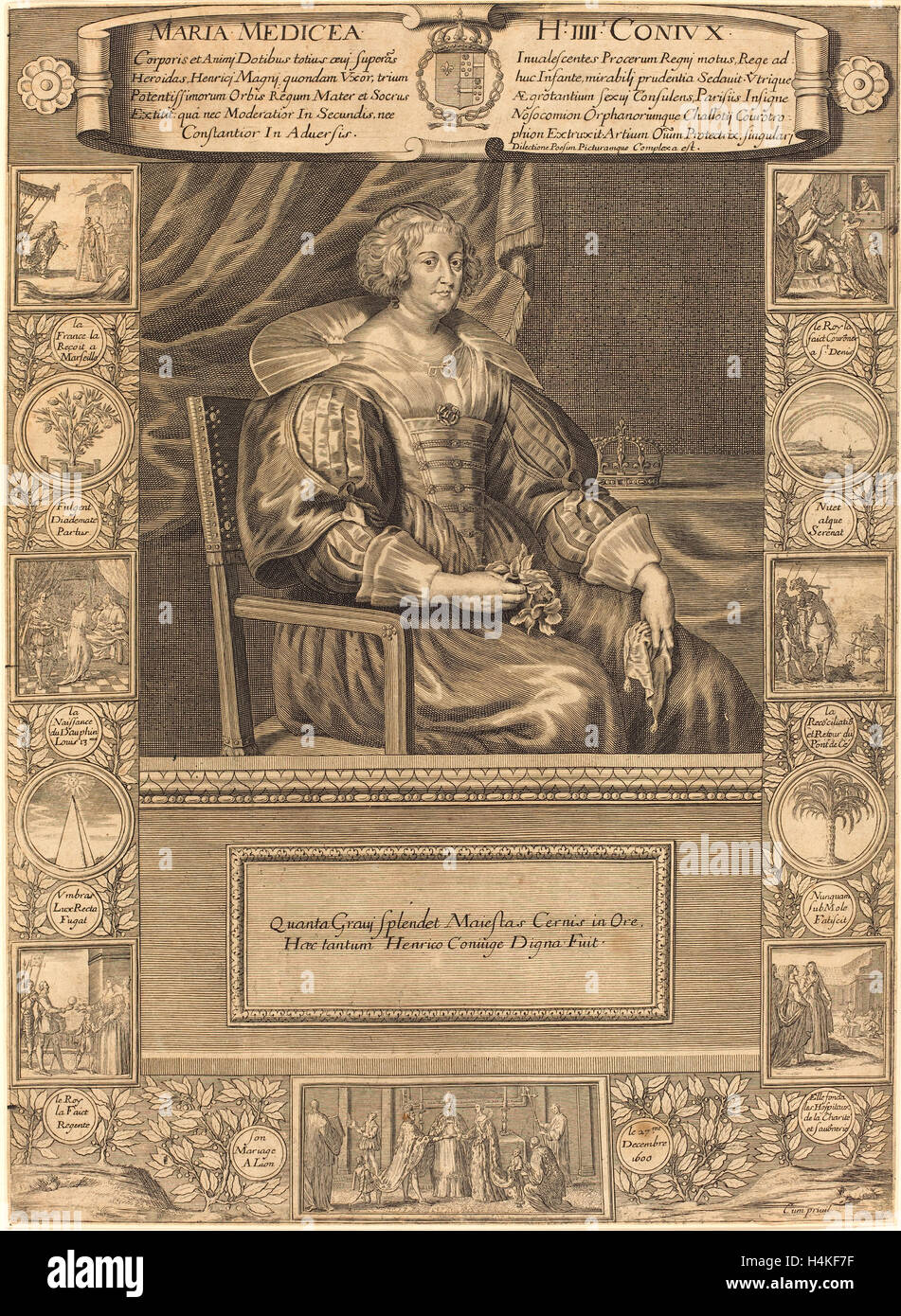 French 17th Century, Marie de Medici, engraving - Stock Image