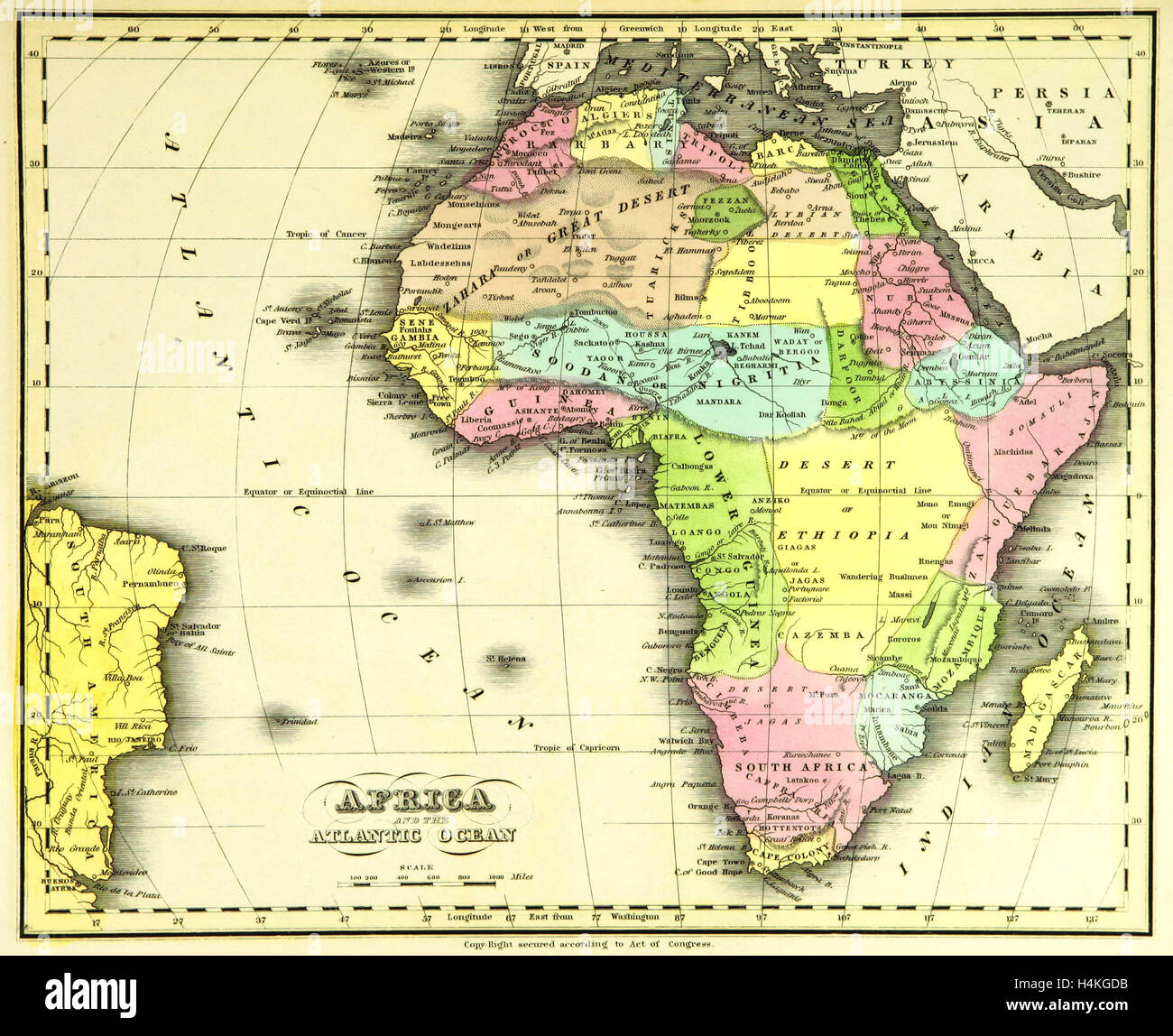 Map Africa, 19th century engraving Stock Photo: 123361207   Alamy