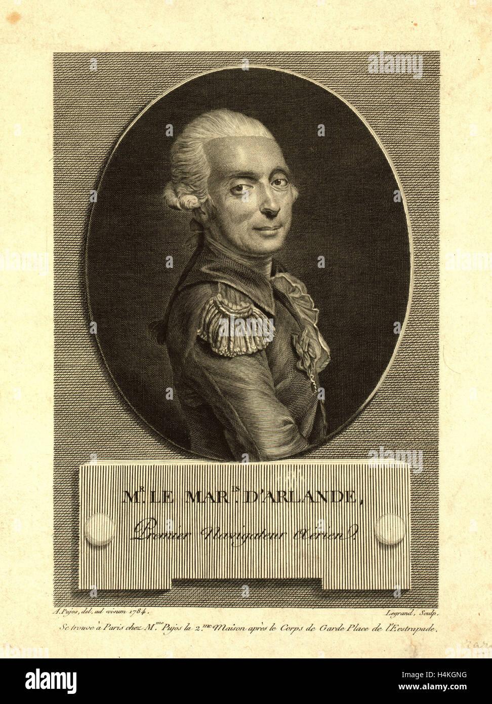 Mr. le maris. d'Arlande, first aerial navigator,  Pujos, André, 1738-1788, artist, Half-length portrait - Stock Image