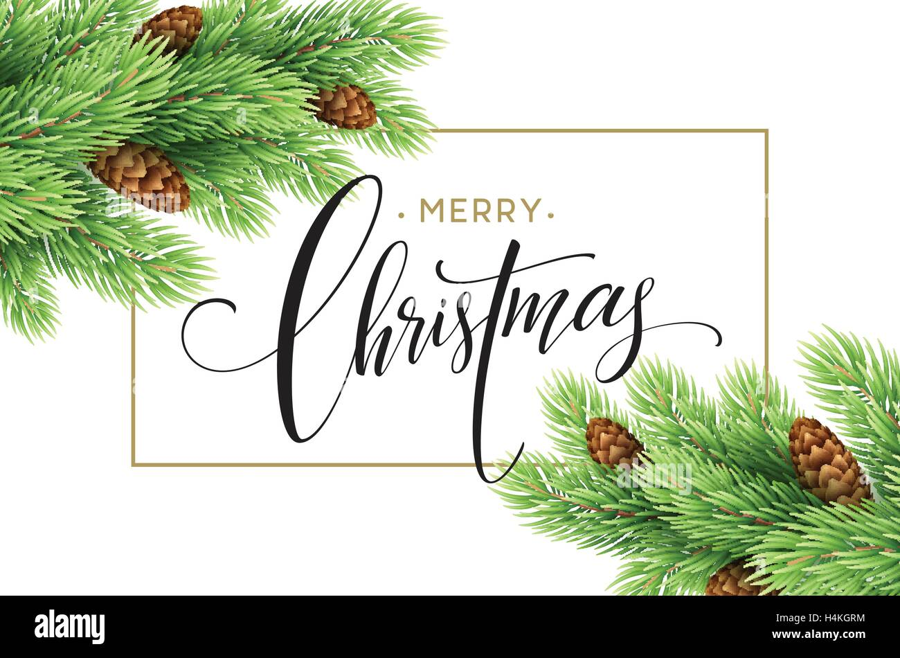Merry Christmas and Happy New Year 2017 greeting card, vector Stock ...