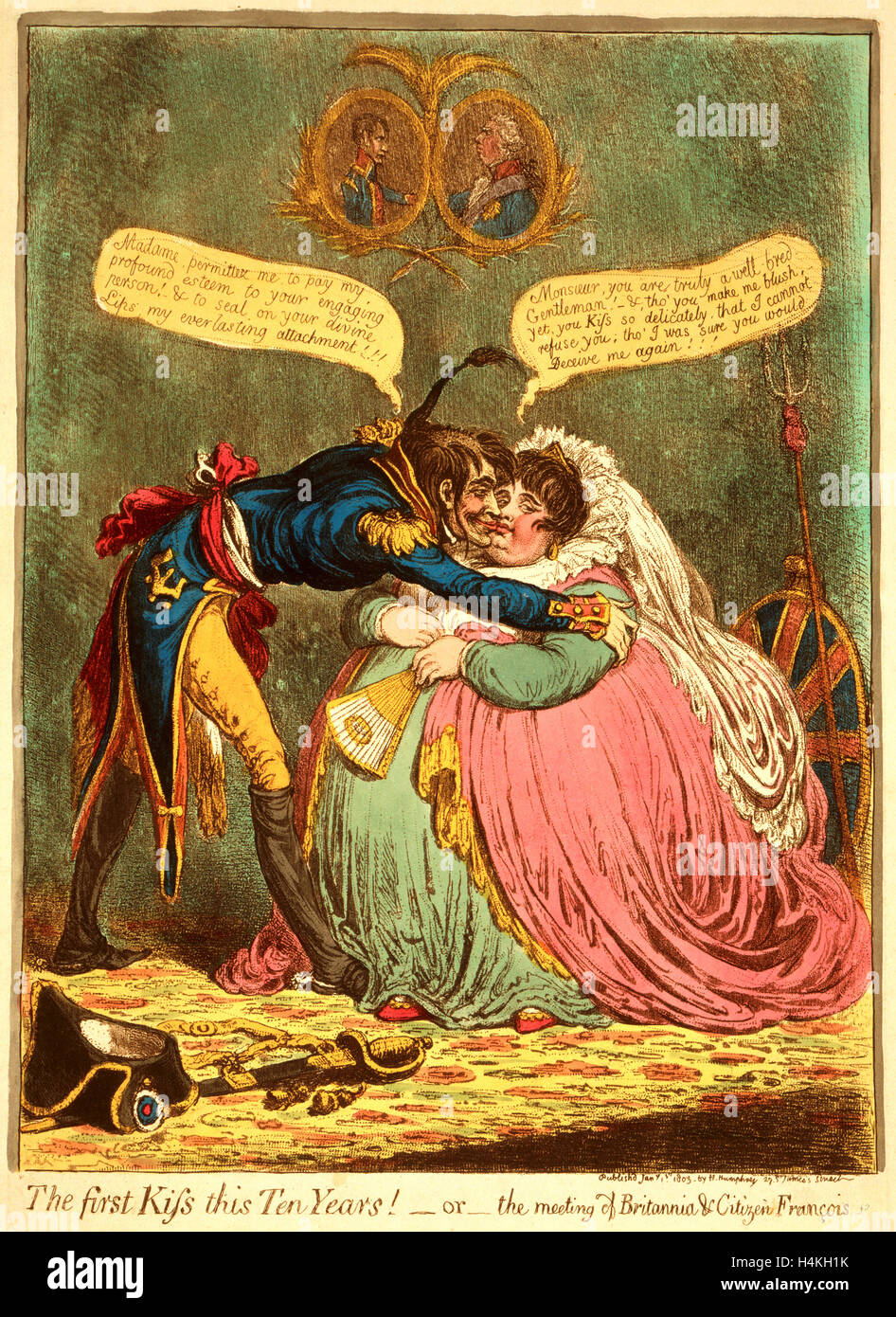 The first Kiss this Ten Years! - or - the meeting of Britannia & Citizen Francois, Gillray, James, 1756 1815, - Stock Image
