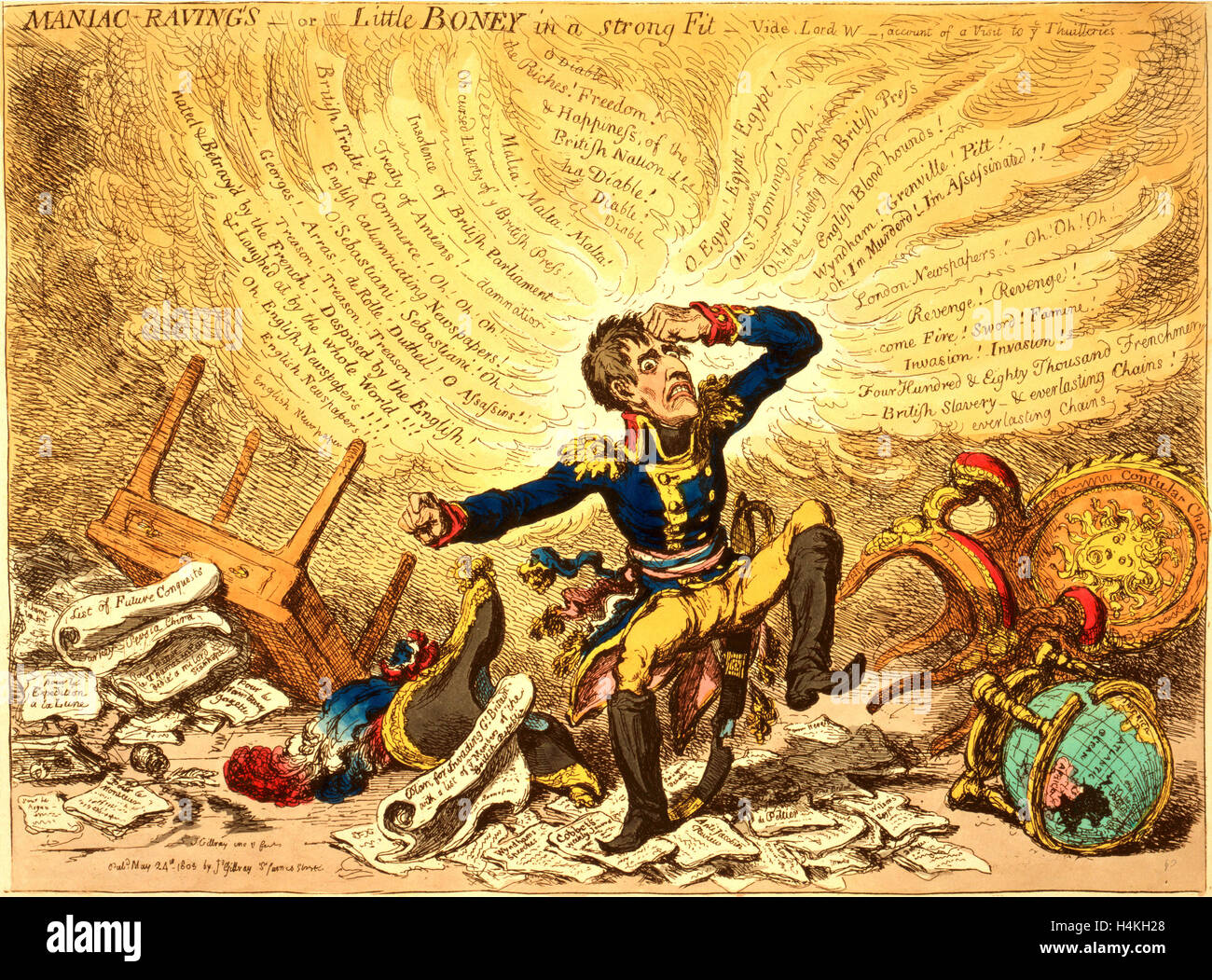 Maniac-raving's or Little Boney in a strong fit, Gillray, James, 1756-1815, engraver, London, 1803,  Napoleon - Stock Image