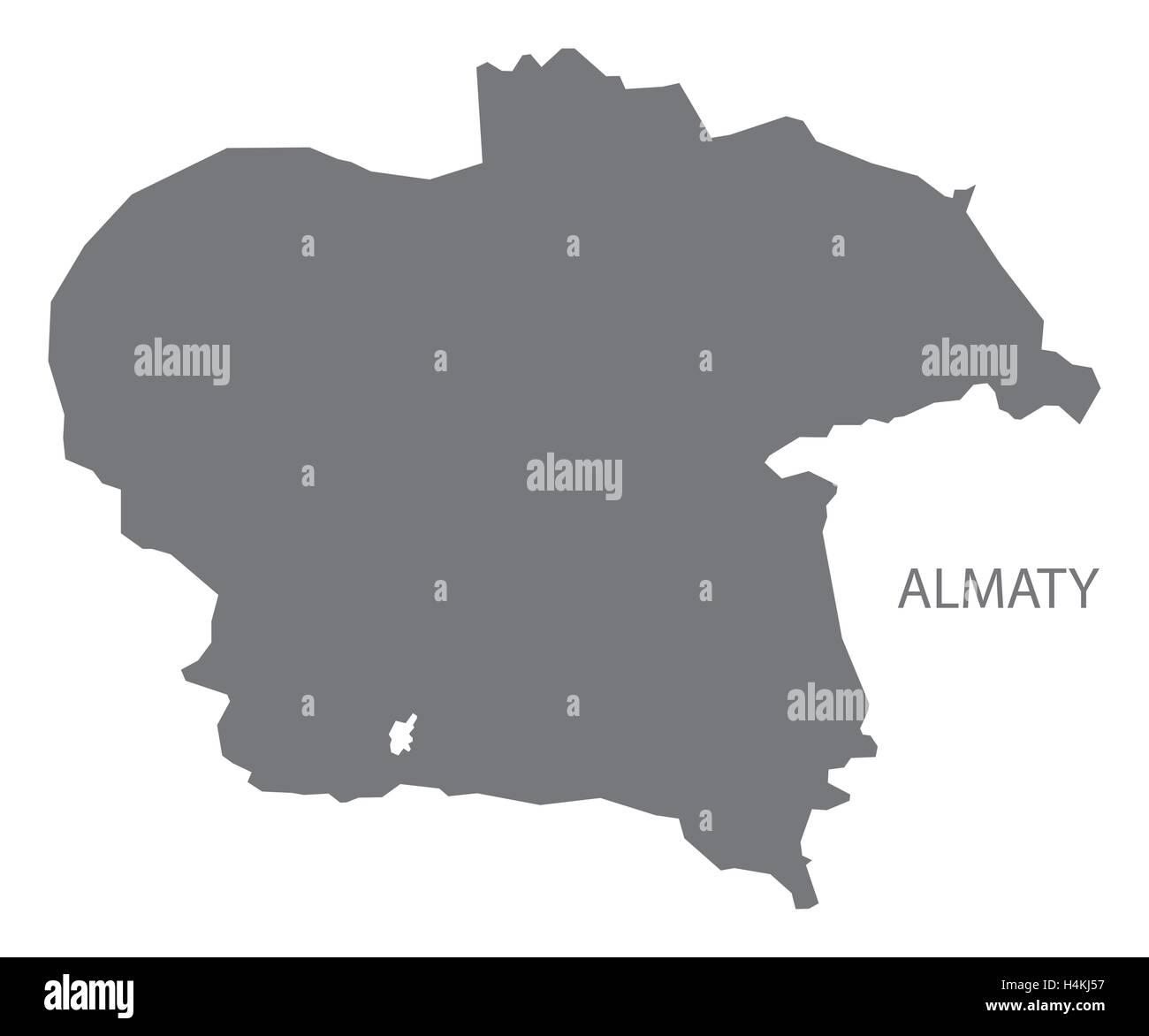 Almaty Kazakhstan Map Grey Stock Vector Art Illustration Vector