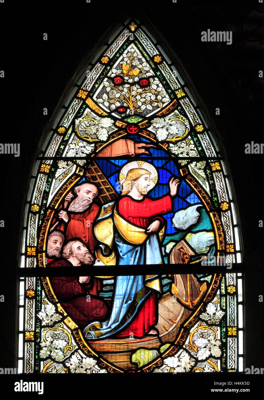 Jesus stilling the Waves, by Ward  & Hughes, 1869,  stained glass window, Stanhoe, Norfolk, scenes from the - Stock Image