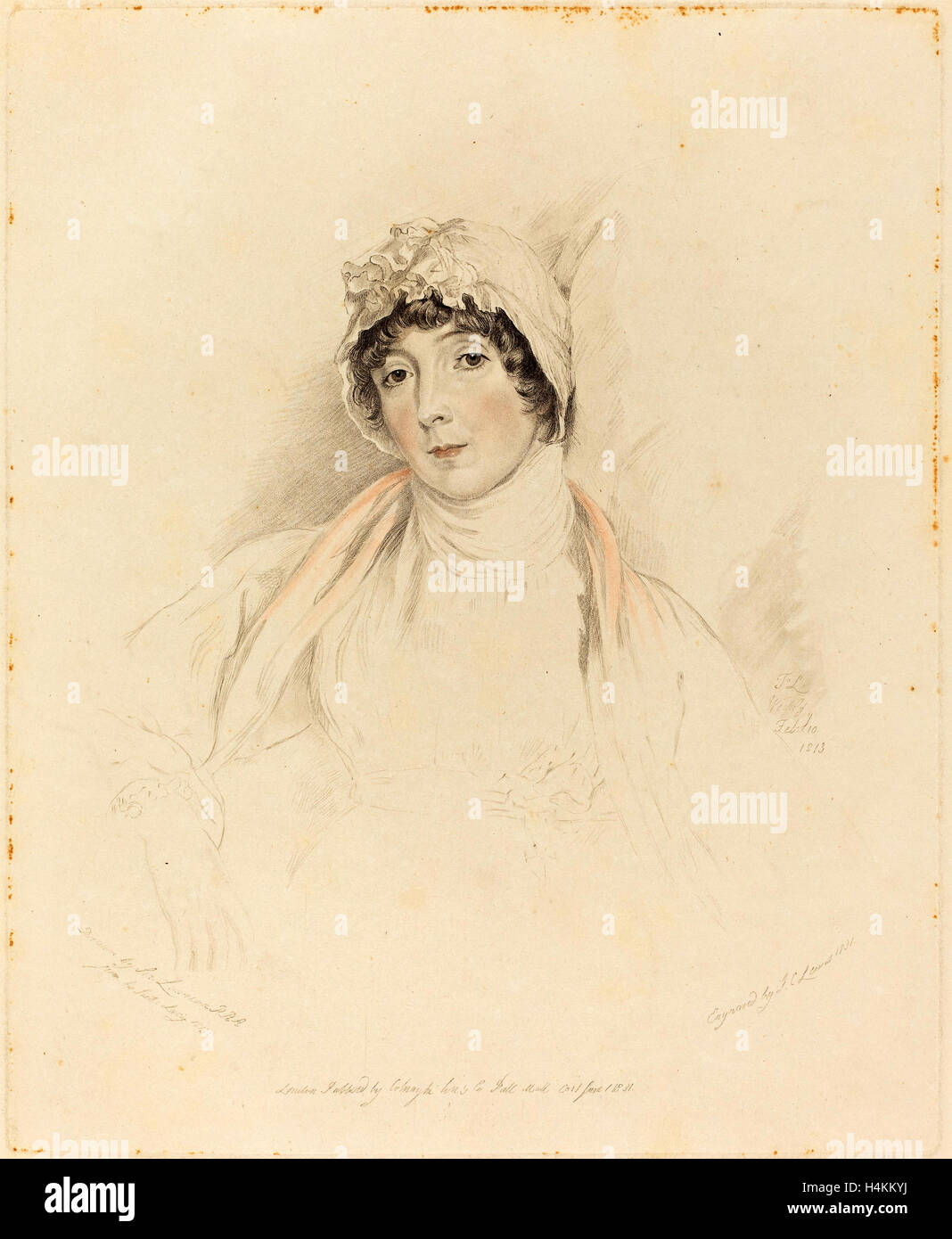 Frederick Christian Lewis I after Sir Thomas Lawrence (British, 1779 - 1856), Lucy Lawrence, 1831, hand-colored - Stock Image