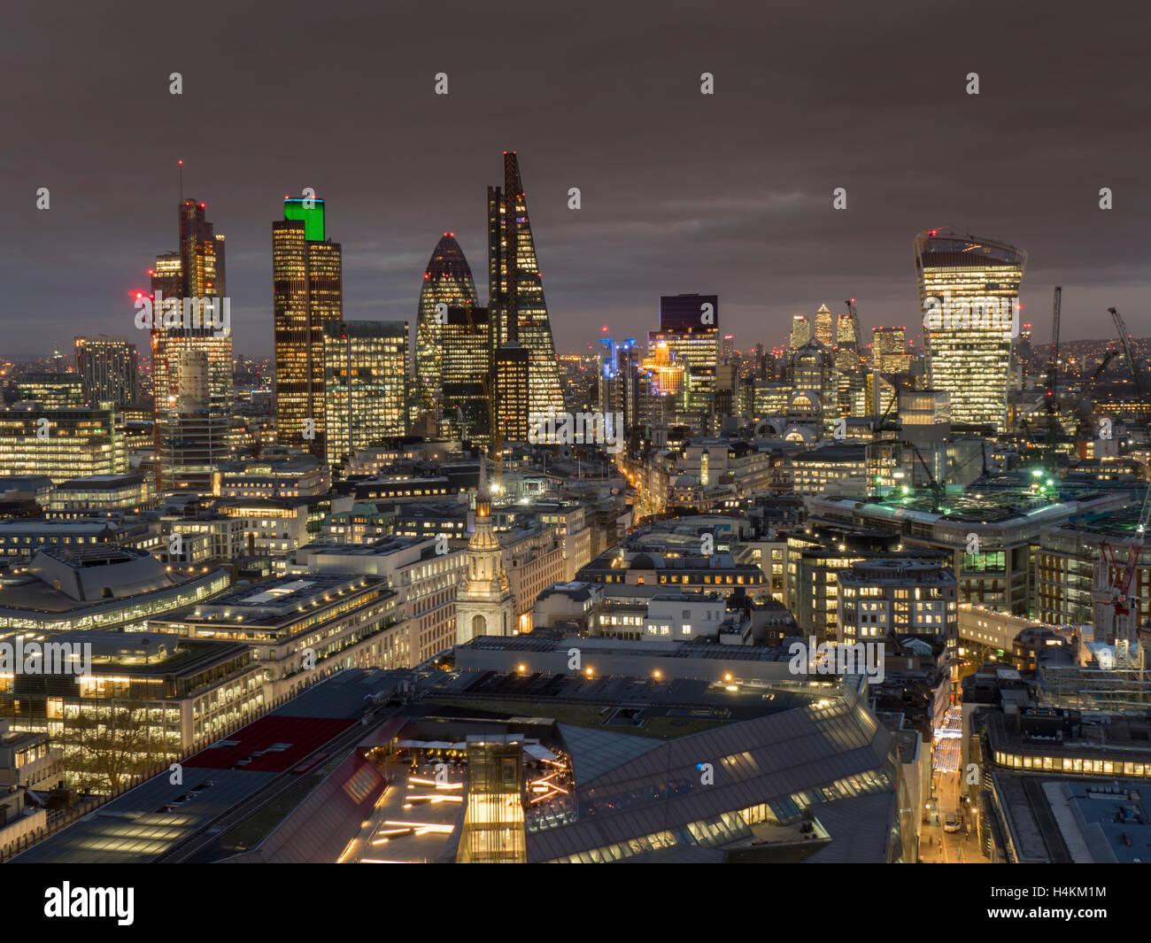 UK, England, London, City cityscape dusk - Stock Image