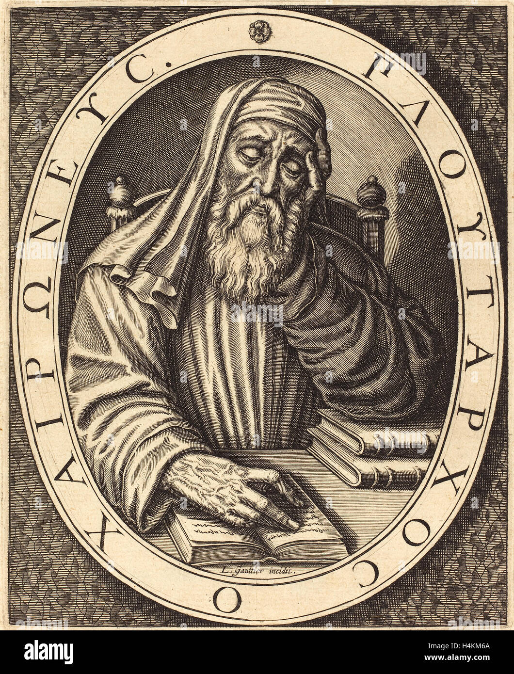 Léonard Gaultier (French, 1561 - 1641), Plutarch, engraving on laid paper Stock Photo