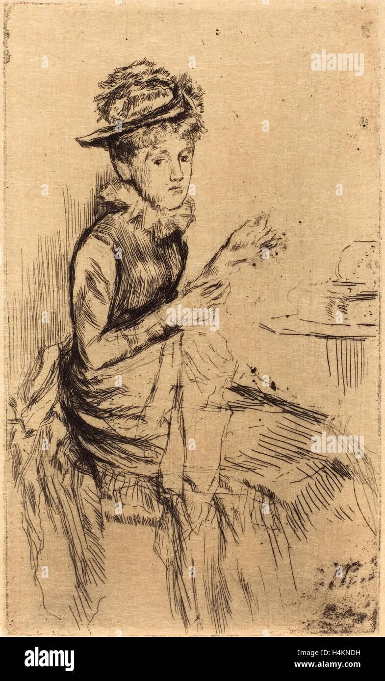 James McNeill Whistler (American, 1834 - 1903), Tatting, c. 1873, etching - Stock Image