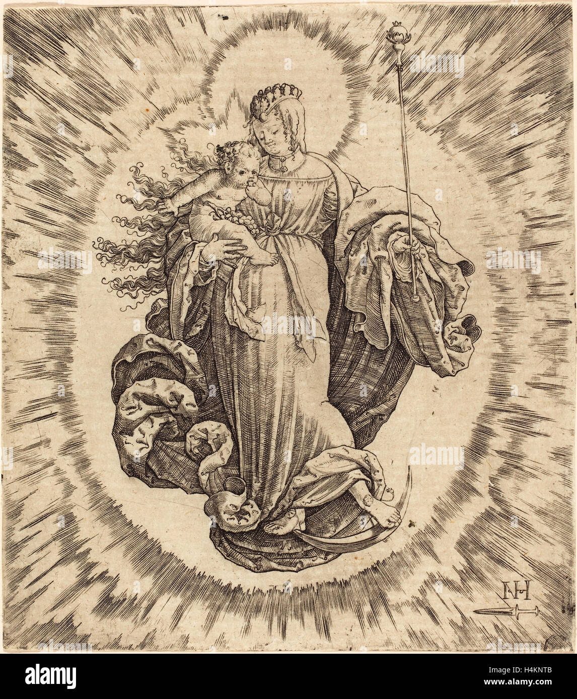 Master N.H. with the Dagger (German, active first half 16th century), Madonna on a Crescent, engraving - Stock Image