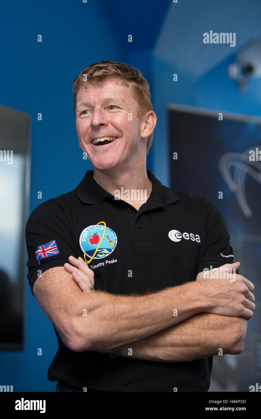 Astronaut Tim Peake giving a talk at Clyde Space LTD in Glasgow - Stock Image
