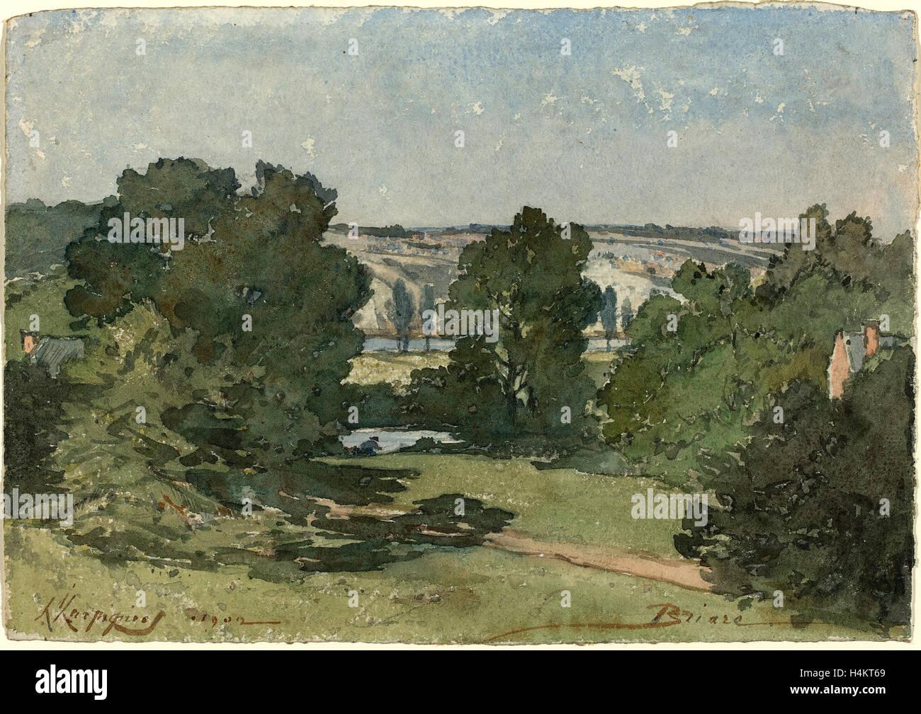 Henri-Joseph Harpignies, Briare, French, 1819-1916, 1902, watercolor over graphite on wove paper - Stock Image