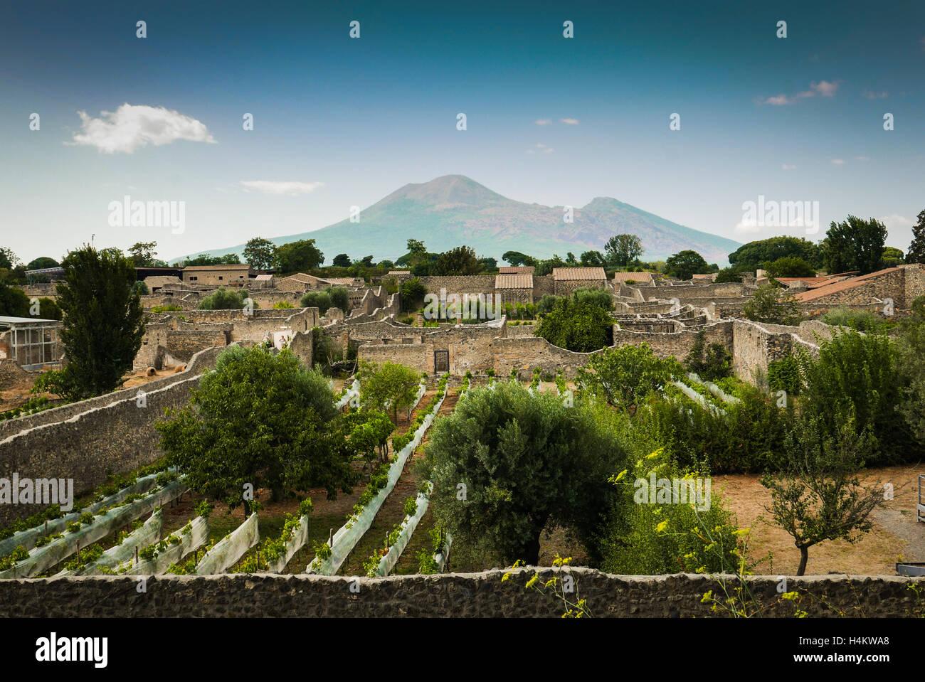 Pompeii, Italy - Ruins of the forum with Vesuvius - Stock Image
