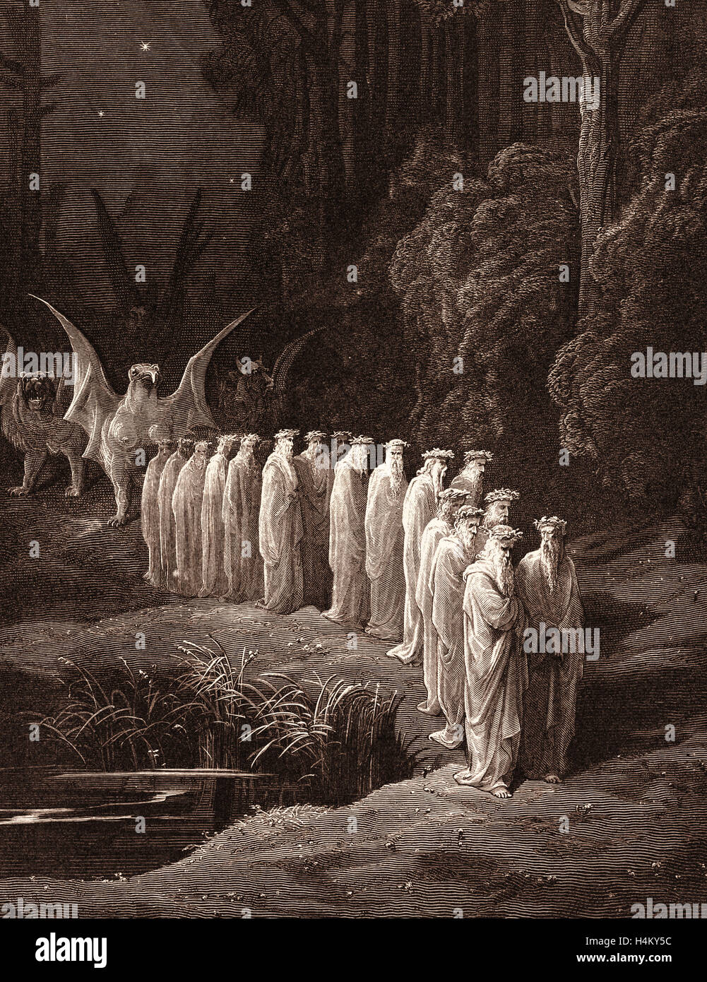 The Procession of the Elders, by Gustave Doré, 1832 - 1883, French. Engraving for the Purgatorio by Dante, - Stock Image