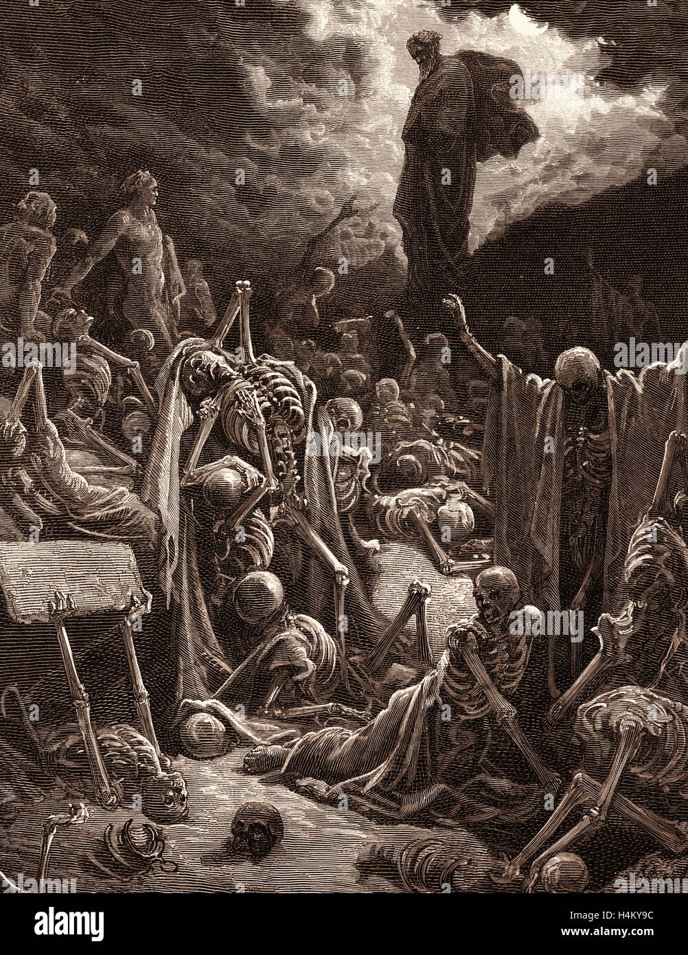 The Vision of the Valley of Dry Bones, Ezekiel by Gustave Doré, 1832 - 1883, French. 1870, Art, Artist, Romanticism, - Stock Image
