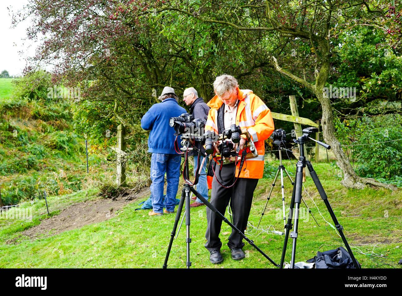 Steam engine enthusiast with a few camera set up, Bury, Lancashire, England, UK. - Stock Image