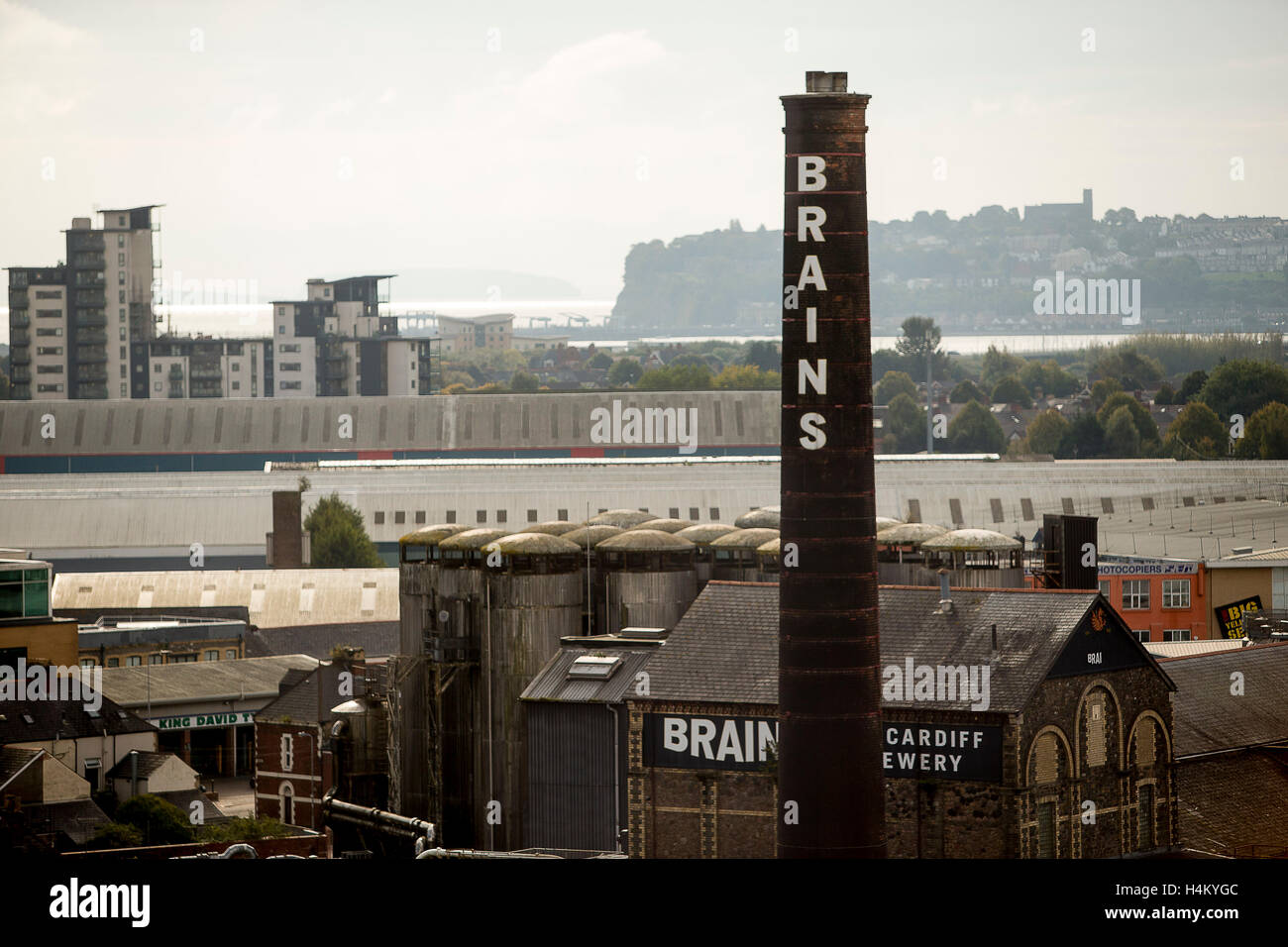 General view of Brains Brewery in Cardiff, South Wales. - Stock Image