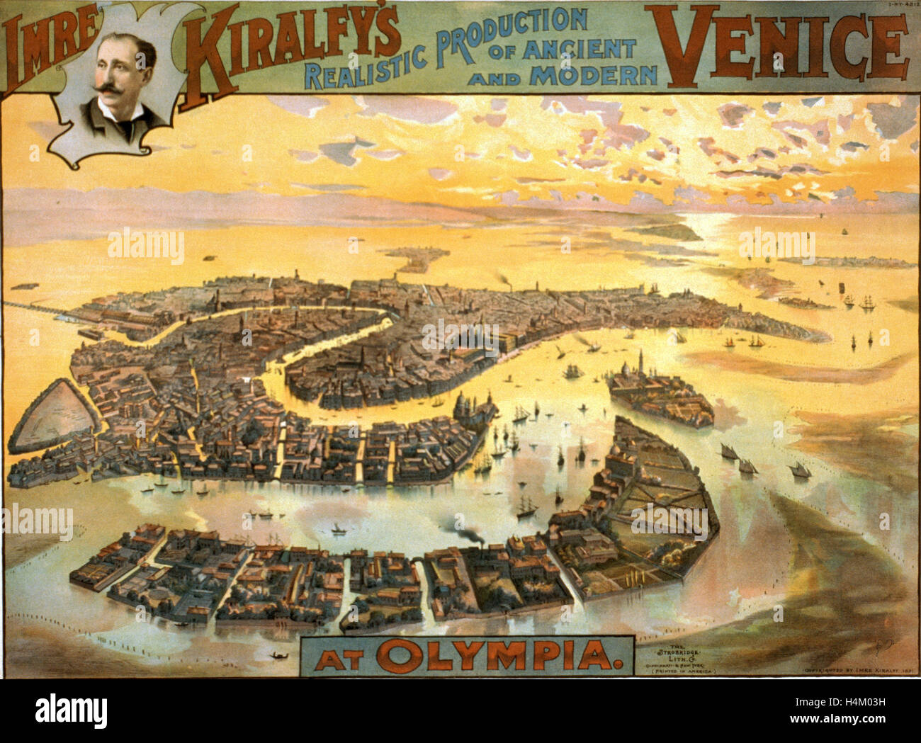 Imre Kiralfy's Realistic Production of Ancient and Modern Venice at Olympia, Bird's-Eye View, Circa 1891, - Stock Image
