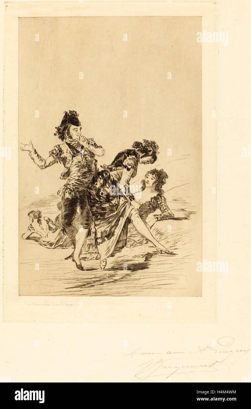 Jules-Ferdinand Jacquemart after Francisco de Goya (French, 1837 - 1880), Spanish Scene (Scène espagnole), - Stock Image