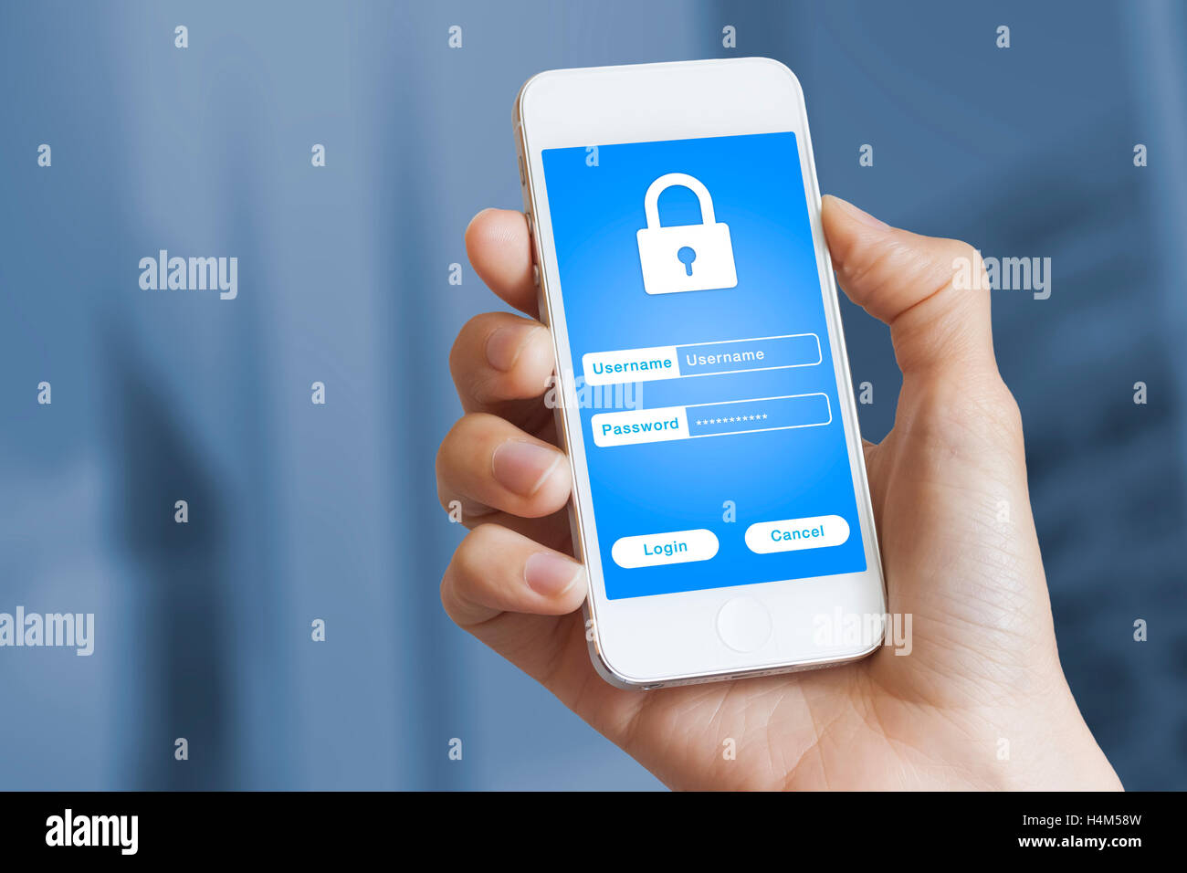 Secure login on mobile phone with username and password for securely accessing online bank and payment - Stock Image