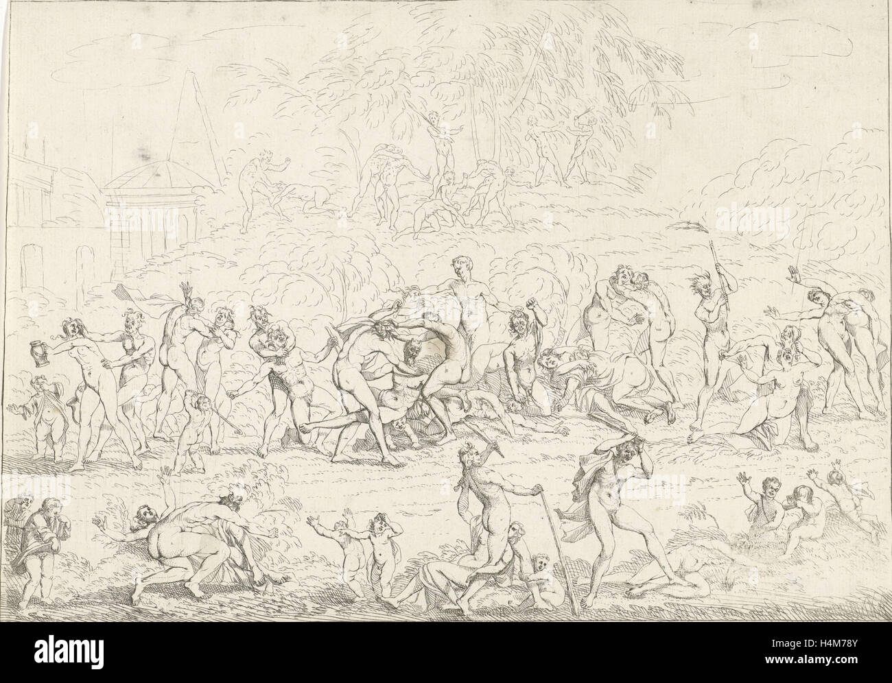 A group Bacchae fighting with each other and with a group of nymphs. Stock Photo
