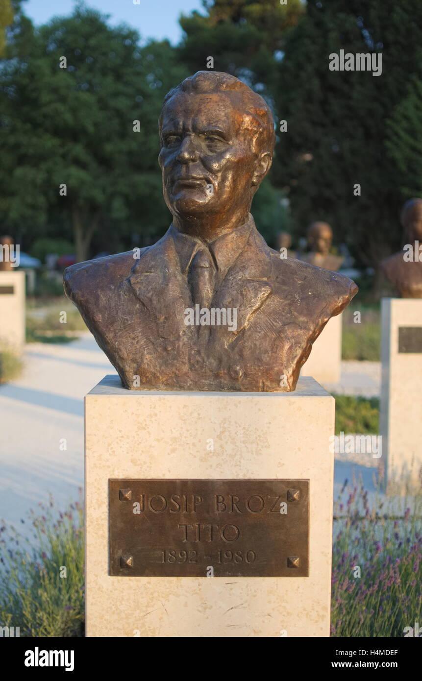 Josip Broz Tito Bronze Bust Statue in Pula, Croatia Stock Photo