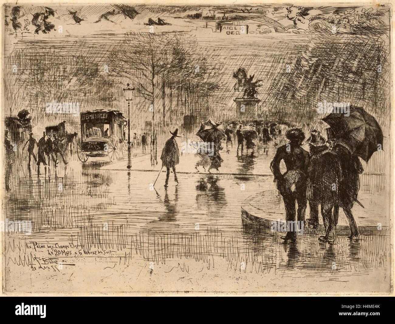 Félix-Hilaire Buhot, Le Retour des Artistes, French, 1847 - 1898, 1877, etching on laid paper - Stock Image