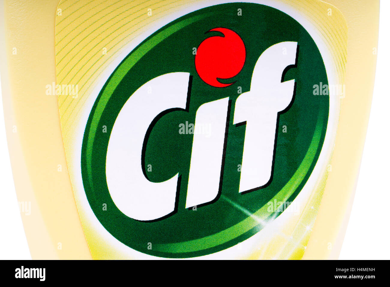 LONDON, UK - OCTOBER 13TH 2016: A close-up of the Cif logo on one of the brand's household cleaning products. - Stock Image