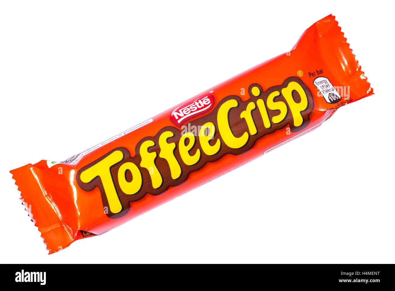 LONDON, UK - OCTOBER 13TH 2016: An unopened Toffee Crisp chocolate bar manufactured by Nestle. - Stock Image