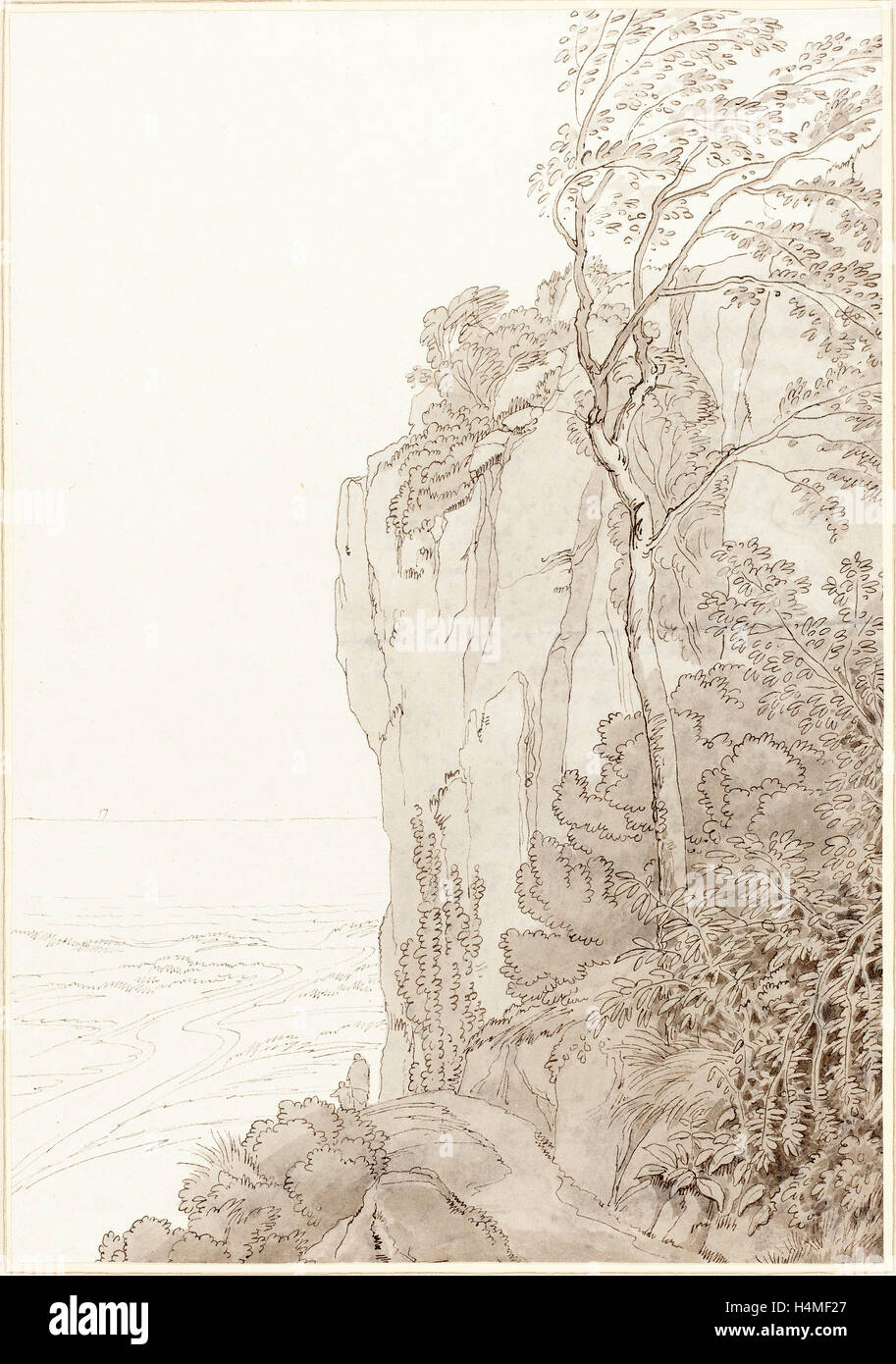 John White Abbott (British, 1763 - 1851), Sheer Cliffs above a Coastal Road, 1810, pen and black ink with gray wash - Stock Image