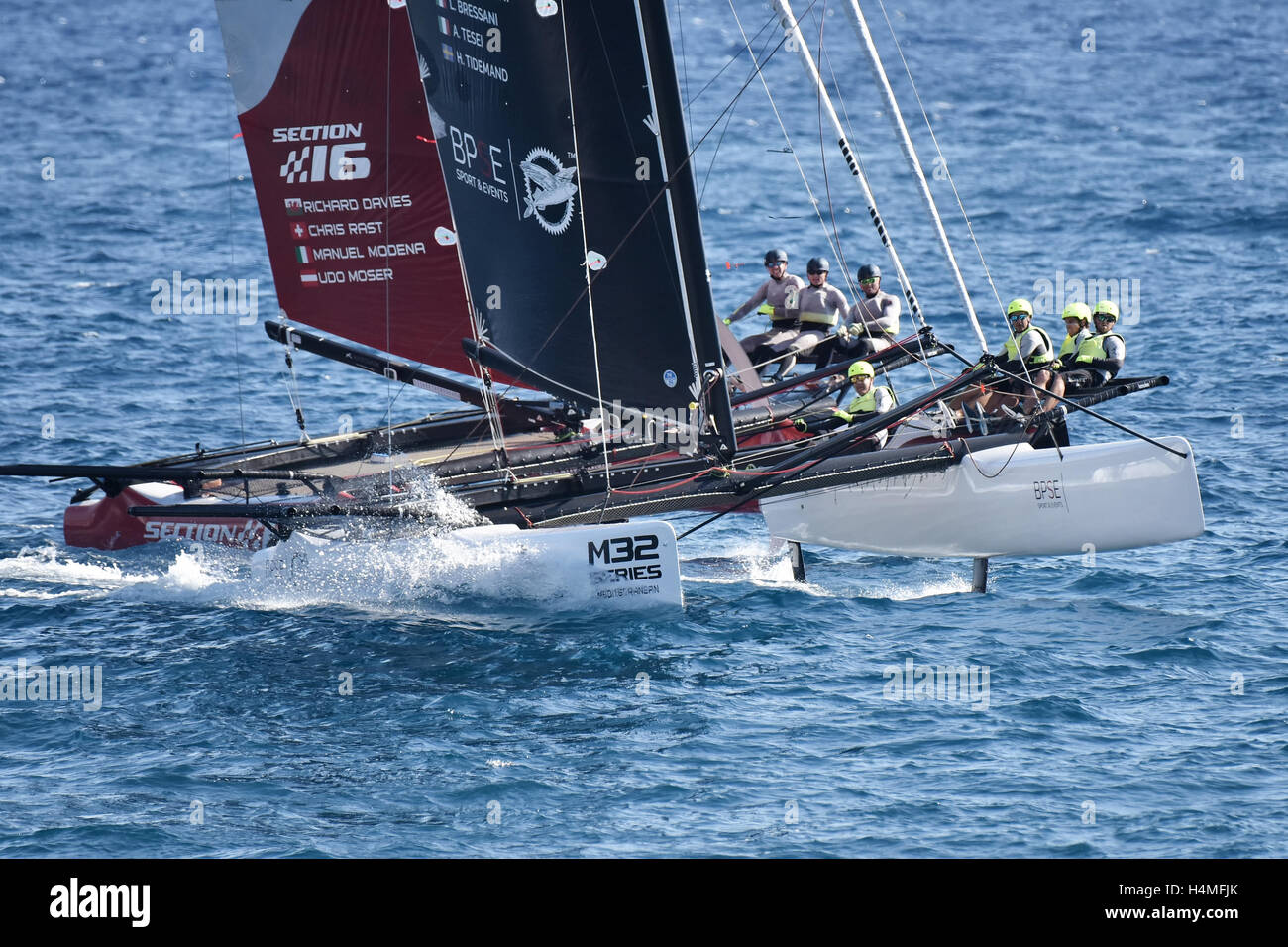 GENOA, ITALY - SEPTEMBER 25: last day of competition for M32 series mediterranean, a sailing fast catamaran competition - Stock Image