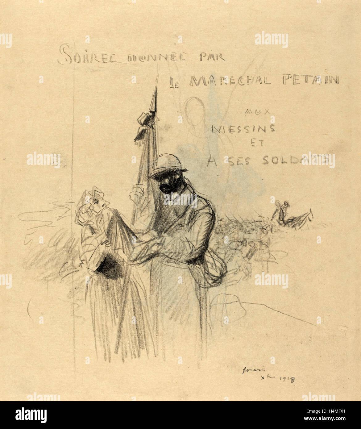Jean-Louis Forain, Le Baiser du Drapeau, French, 1852 - 1931, 1918, black crayon on laid paper Stock Photo