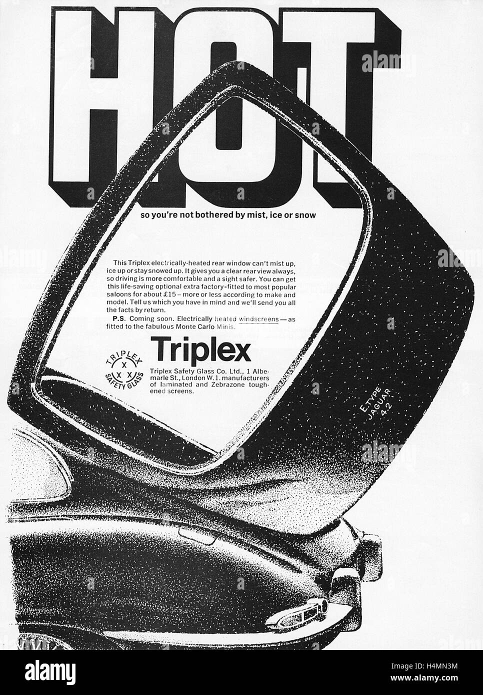 Advert for Triplex electrically heated rear windows from a Motor Sport Magazine in 1962. - Stock Image