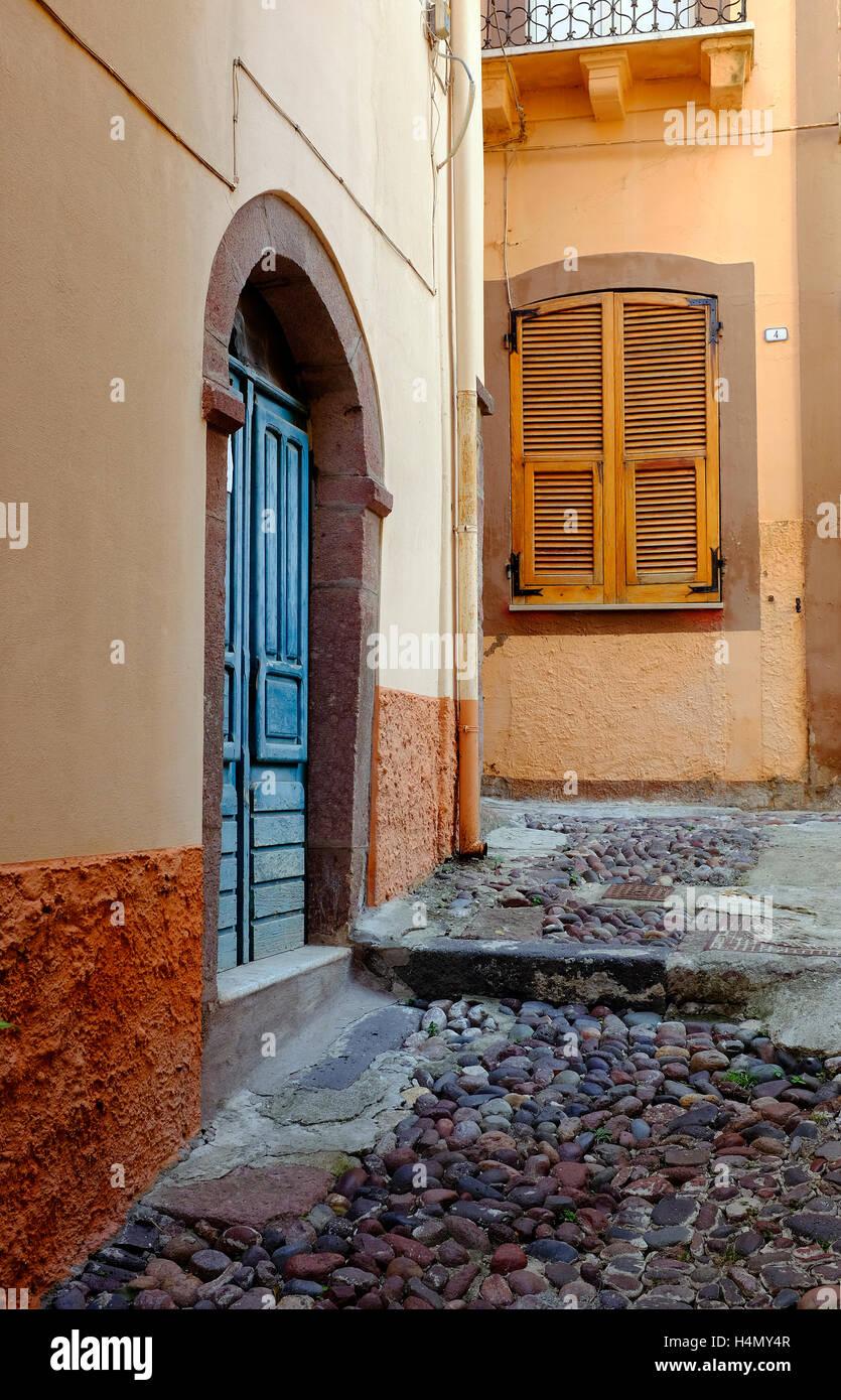 street scene in bosa, sardinia, italy - Stock Image