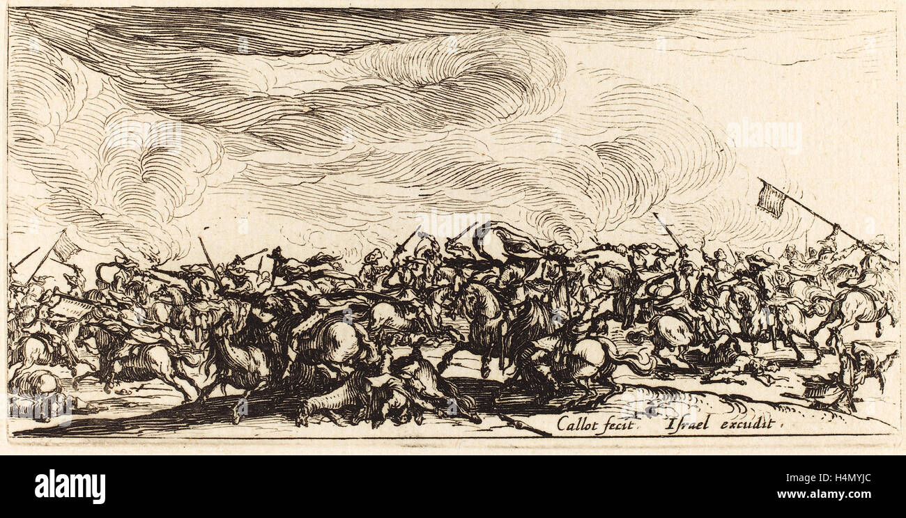 Jacques Callot (French, 1592 - 1635), The Cavalry Combat with Swords, c. 1632-1634, etching - Stock Image