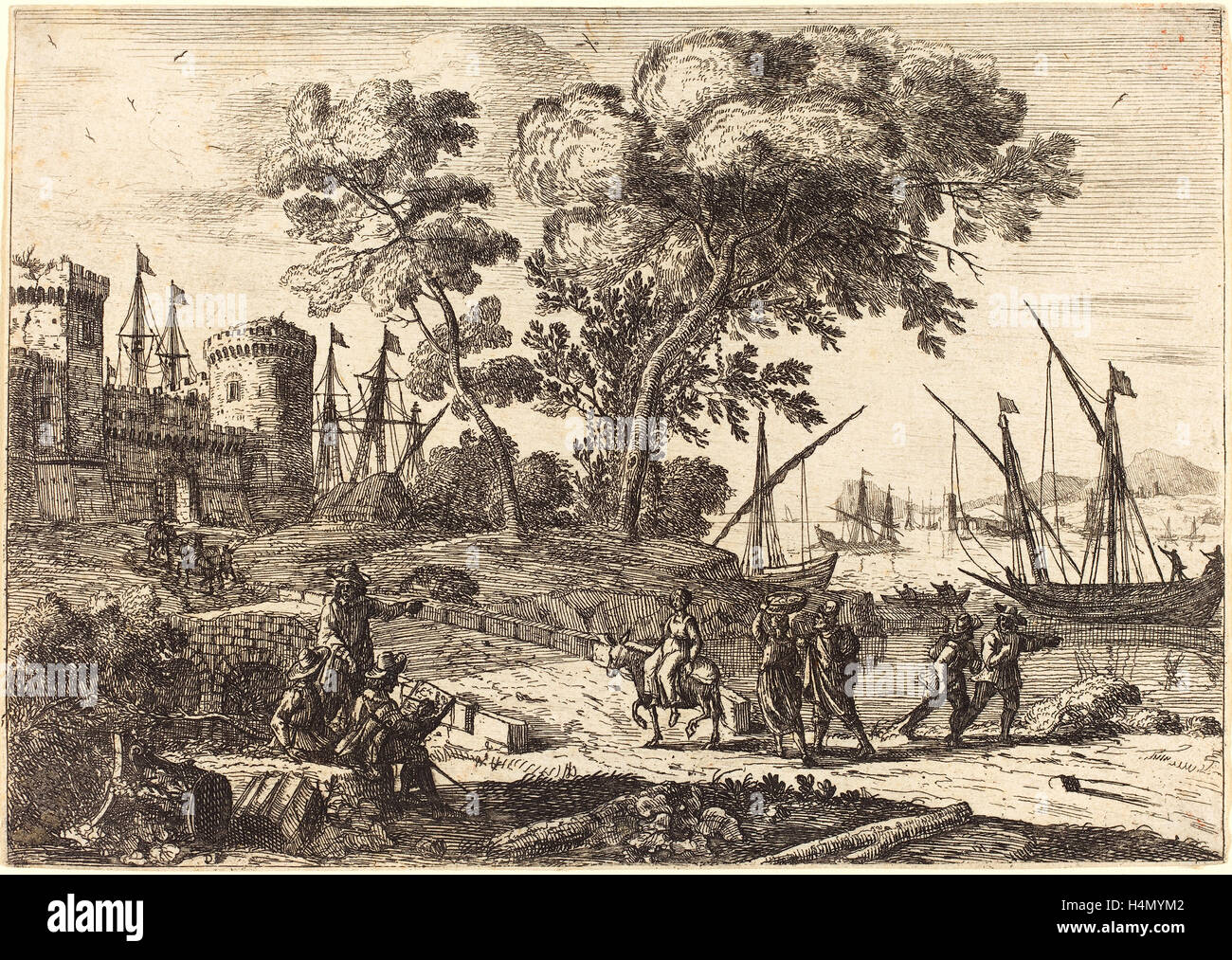 Claude Lorrain (French, 1604-1605 - 1682), Coast Scene with an Artist (Le dessinateur), c. 1638-1641, etching Stock Photo