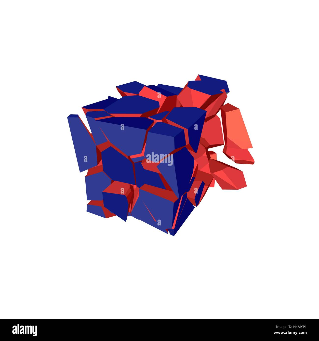Exploded cube. Isolated on white background. Vector illustration. - Stock Vector